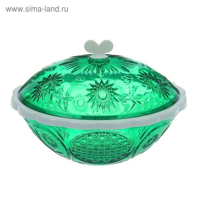 """Сахарница с крышкой 500 мл """"Хрусталь"""", цвет зеленый"""