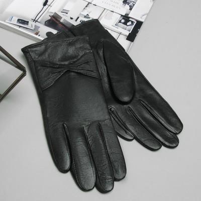 Перчатки женские, бант, размер 7, S, с подкладом, цвет чёрный