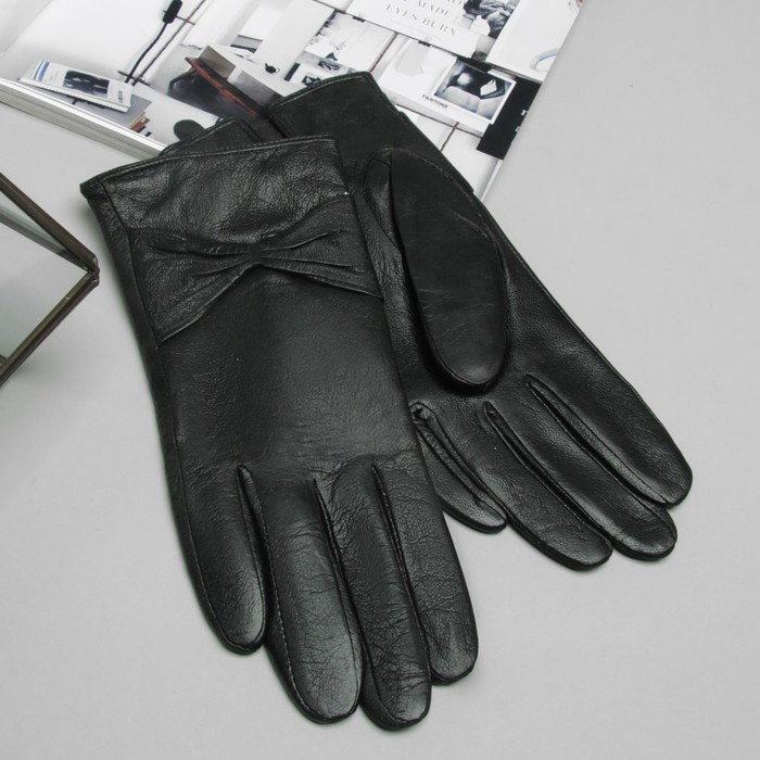 """Перчатки женские Collorista """"Бант"""", размер 7, S, цвет чёрный"""