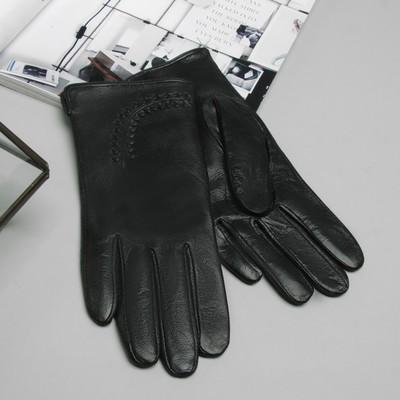 Перчатки женские, размер 7, S, с подкладом, цвет чёрный