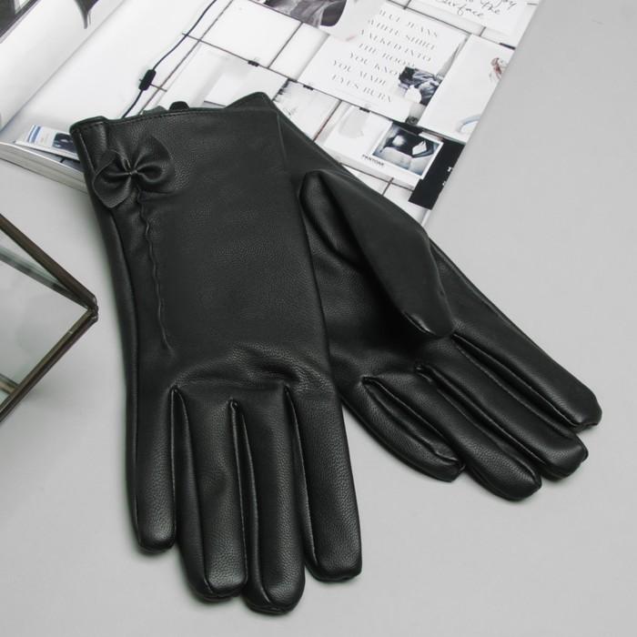 """Перчатки женские """"Бантик"""", размер 25, цвет чёрный"""