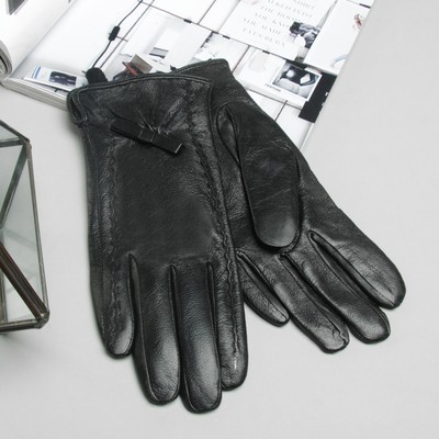 Перчатки женские, размер 8, M, с подкладом, цвет чёрный
