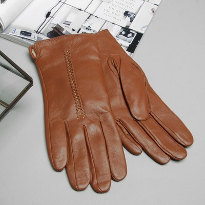 Перчатки женские, размер 8, M, с подкладом, цвет коричневый
