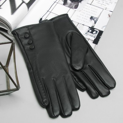 Перчатки женские, пуговицы, размер 9, M, с подкладом, цвет чёрный