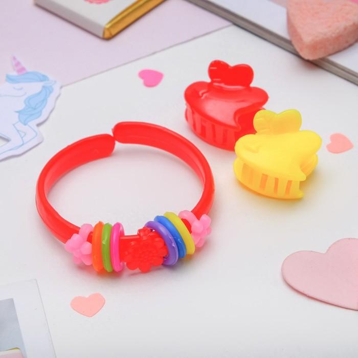 """Набор детский """"Выбражулька"""" 3 предмета: 2 крабика, браслет, сердечко, цвет МИКС"""