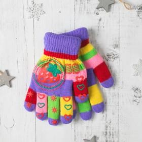 """Перчатки детские двухслойные Collorista """"Клубничка"""", размер 18, цвет фиолетовый"""
