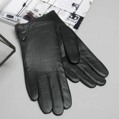 Перчатки женские, бантик, размер 7, S, с подкладом, цвет чёрный