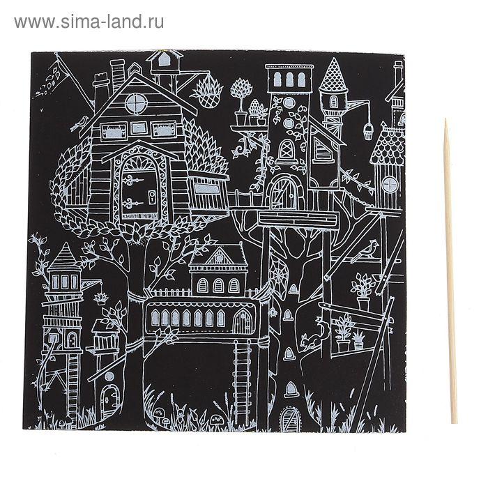 """Гравюра """"Загадочный сад №3"""" цветное основание, оборот раскраска + штихель"""