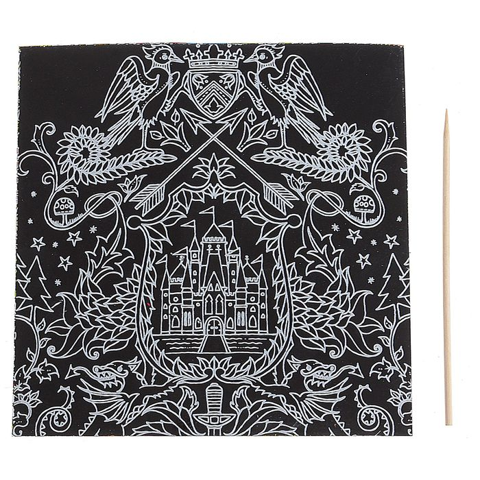 """Гравюра """"Загадочный сад №4"""" цветное основание, оборот раскраска + штихель"""