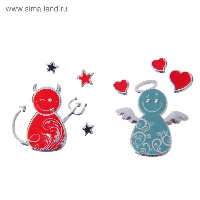 """Набор свадебных наклеек """"Ангел и Чертик"""", 2 шт"""