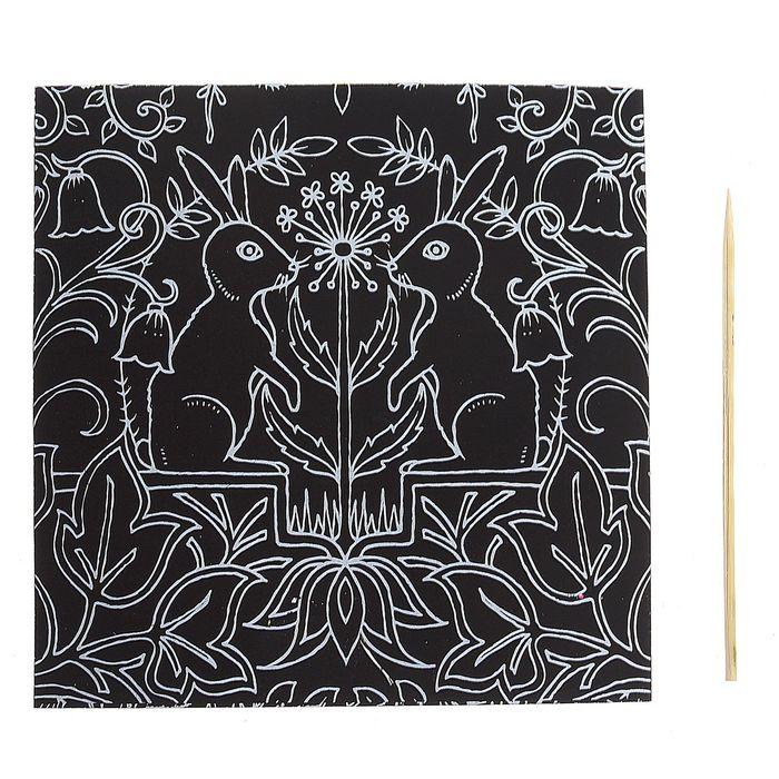 """Гравюра """"Загадочный сад №7"""" цветное основание, оборот раскраска + штихель"""