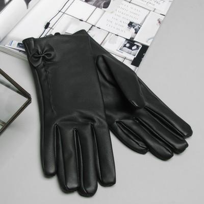 Перчатки женские, бантик, размер 9, с подкладом, цвет чёрный