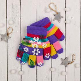 """Перчатки детские двухслойные Collorista """"Снежинки"""", размер 18, цвет фиолетовый"""