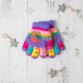 """Перчатки детские двуслойные Collorista """"Клубничка"""", размер 16, цвет фиолетовый"""