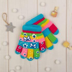 """Перчатки детские двухслойные Collorista """"Бабочка"""", размер 18, цвет голубой"""