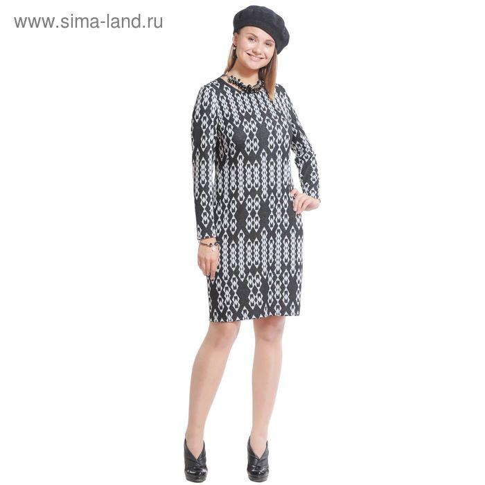 Платье женское 3993 С+, размер 52, рост 164 см, цвет черный/серый