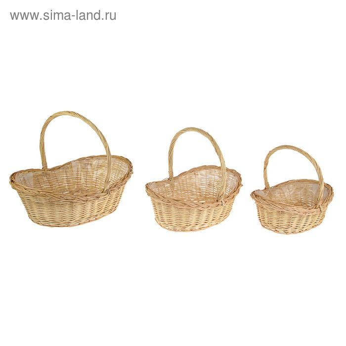 Набор корзин плетеных (ива): 52х52х21х16х44см, 3шт