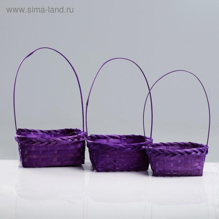 Набор корзин плетеных (бамбук), D19xH9/32см, D22xH9.5/34см, D25xH10/36см, 3шт. фиолетовый