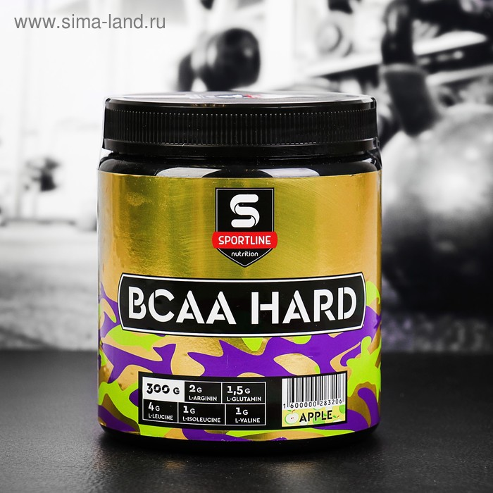 Аминокислоты SportLine BCAA Hard 4:1:1, яблоко, 300 г