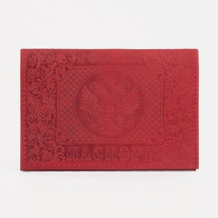 """Обложка для паспорта """"Медведь"""", красная"""