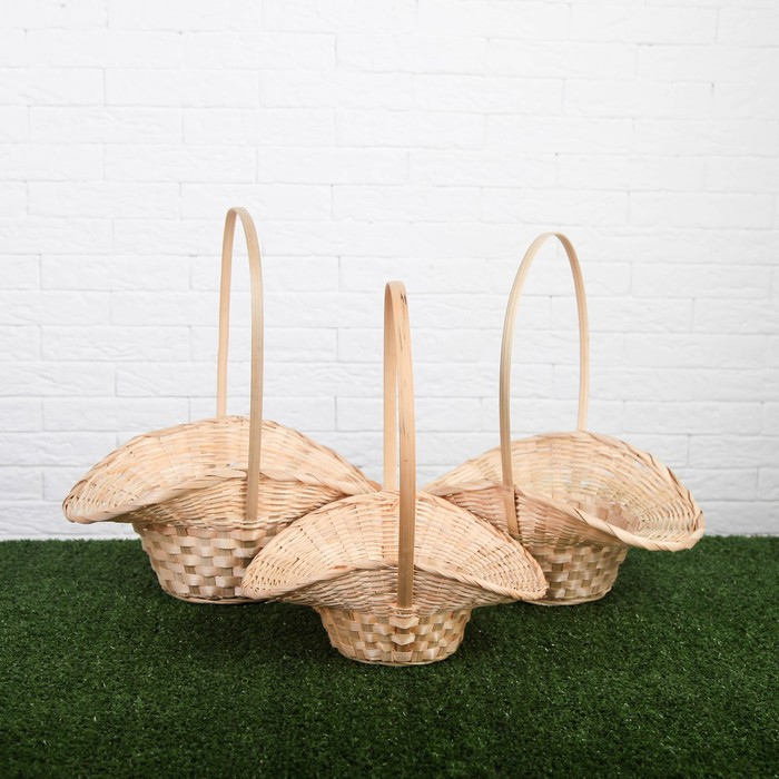Набор корзин плетёных, бамбук, 3 шт., натуральный цвет, большие