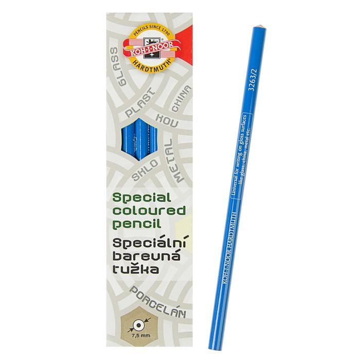 Карандаш Koh-I-Noor специальный, для письма по стеклу, металлу, пластику, цвет синий