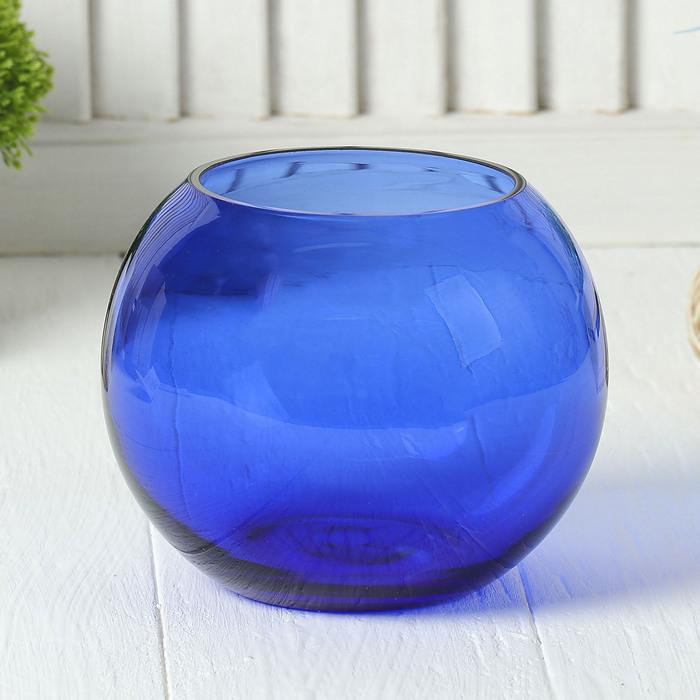 """Ваза-шар """"Сфера"""" синяя, 1,2 л"""