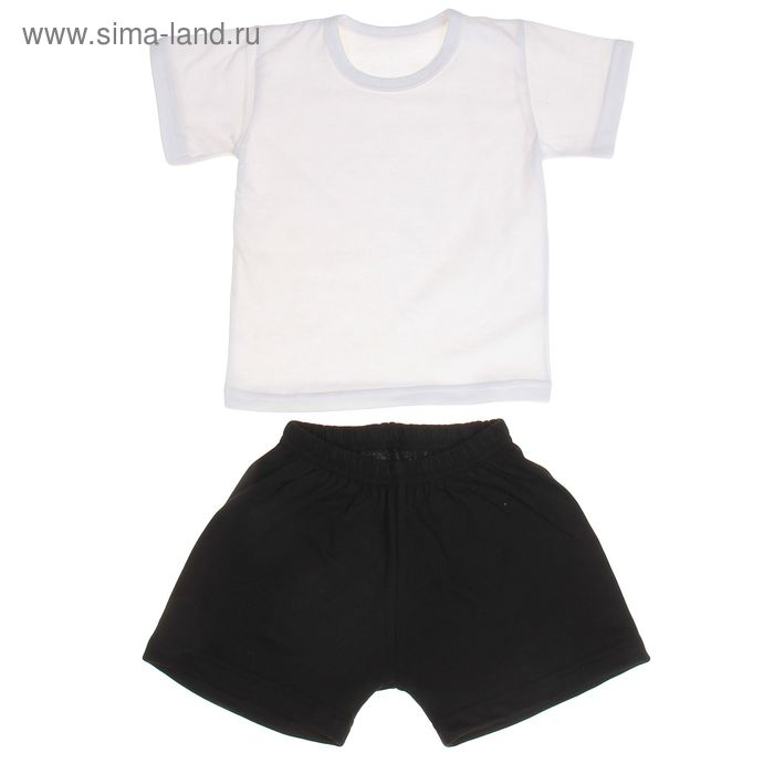 Комплект для мальчика (футболка+шорты), рост 110-116 см, цвет белый-чёрный (арт. 407)