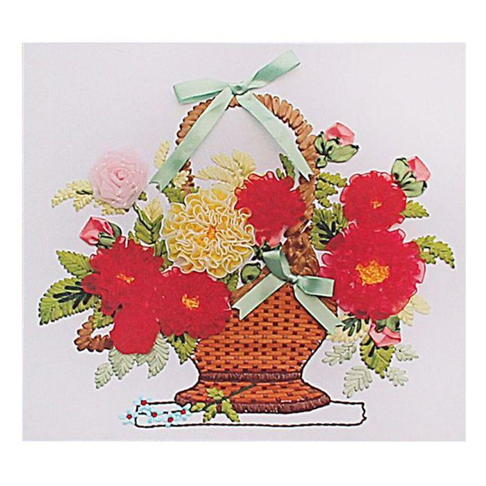 """Набор для вышивания лентами """"Цветы в корзинке"""" размер основы 45*50 см"""