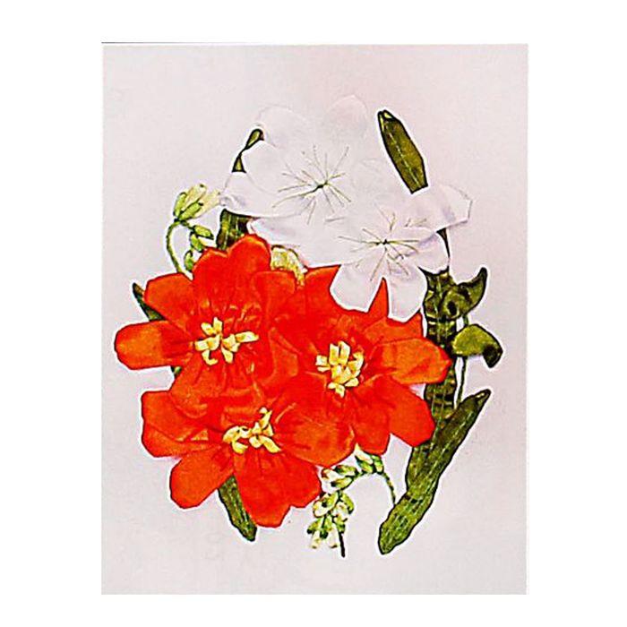 """Набор для вышивания лентами """"Цветочки"""" размер основы 30*30 см"""