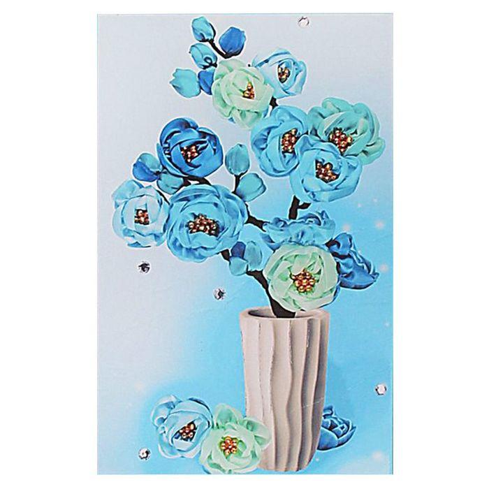 """Набор для вышивания лентами """"Чудо цветы"""" размер основы 50*35 см"""