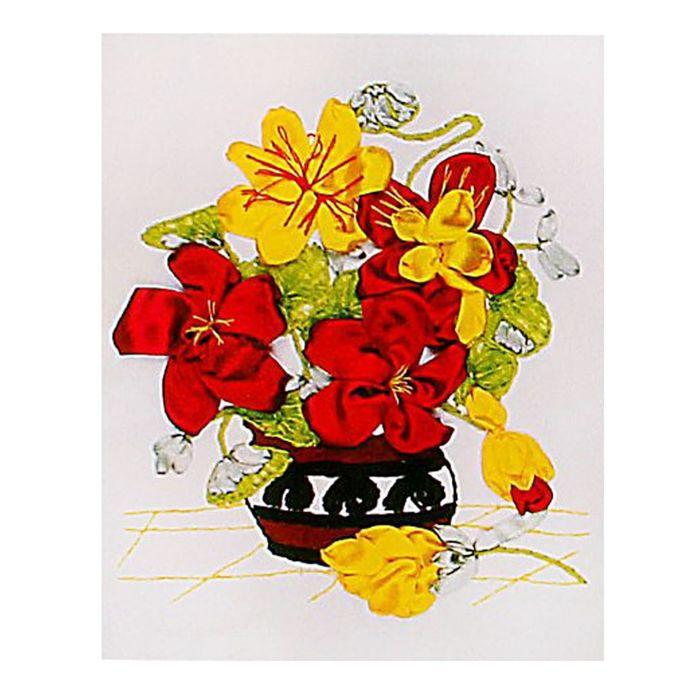 """Набор для вышивания лентами """"Цветы в вазе"""" размер основы 30*30 см"""
