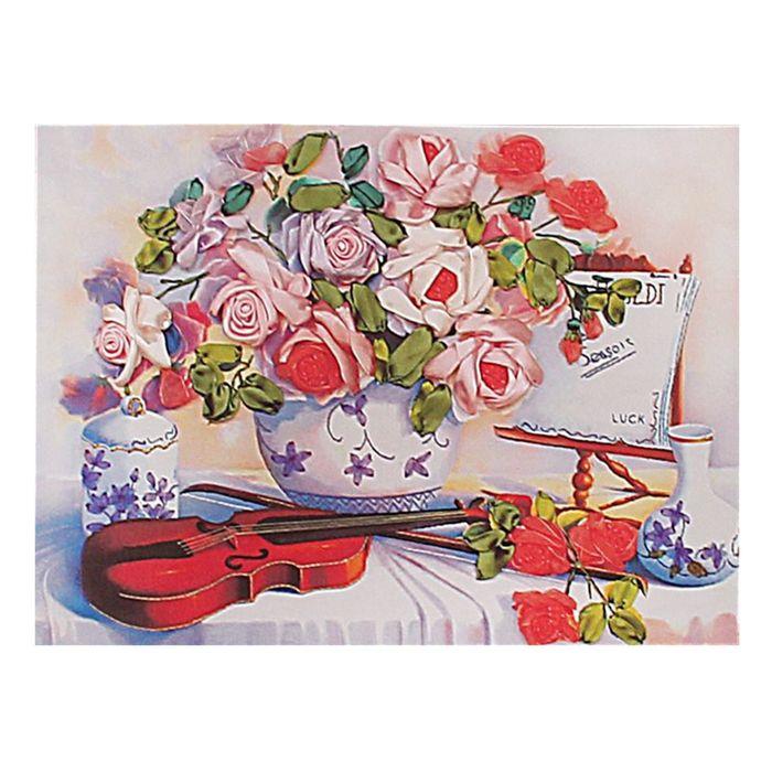 """Набор для вышивания лентами """"Букет музыканта"""" размер основы 49*65 см"""