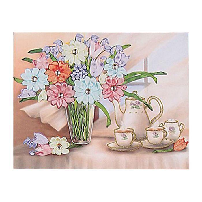 """Набор для вышивания лентами """"Цветы и чайный набор"""" размер основы 40*34 см"""
