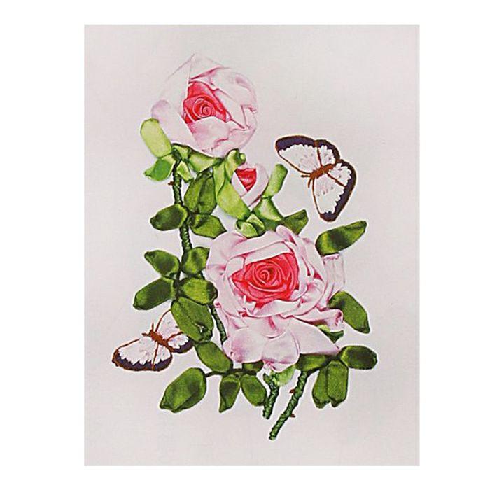 """Набор для вышивания лентами """"Розы с бабочками"""" размер основы 30*30 см"""