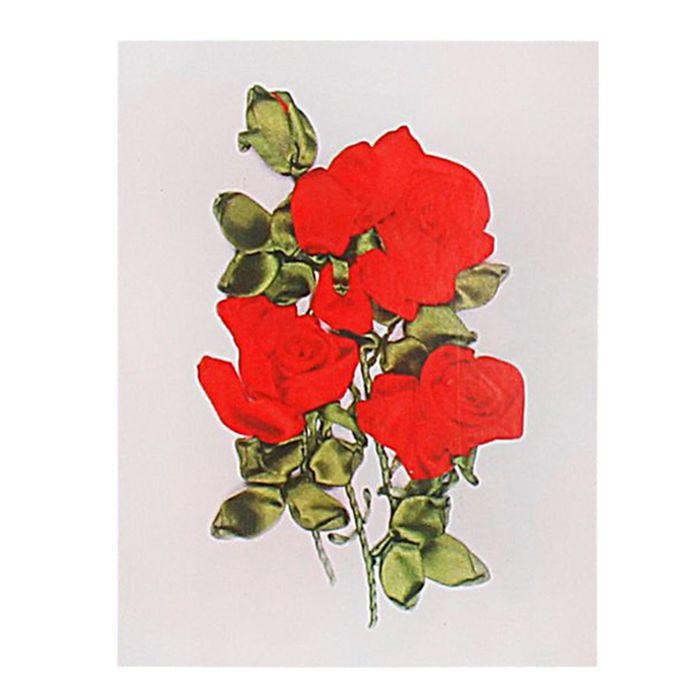 """Набор для вышивания лентами """"Розы красные"""" размер основы 30*30 см"""