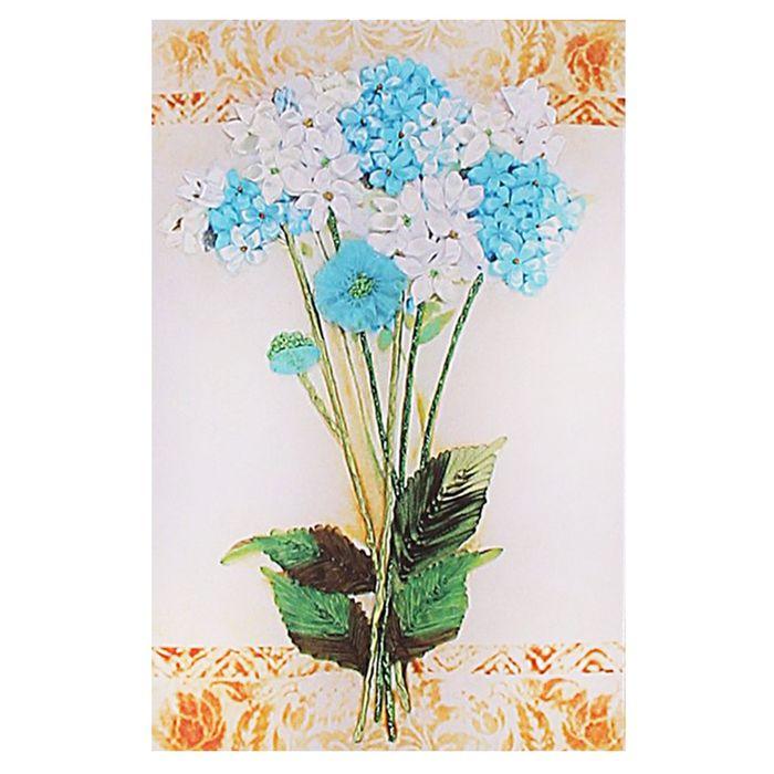 Набор для вышивания лентами «Букет с васильками» размер основы: 35×50 см