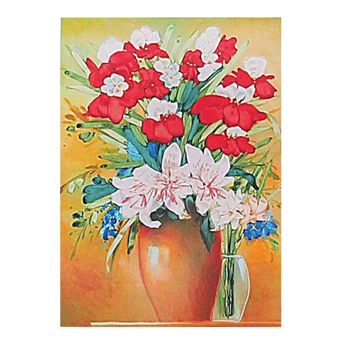 """Набор для вышивания лентами """"Букет с лилиями"""" размер основы 46*35 см"""