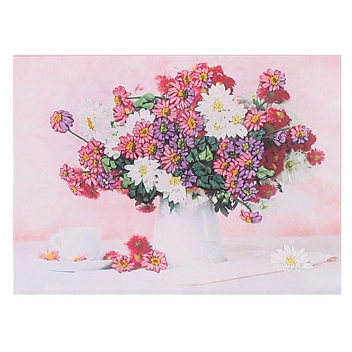 """Набор для вышивания лентами """"Букет полевых цветов"""" размер основы 40*50 см"""
