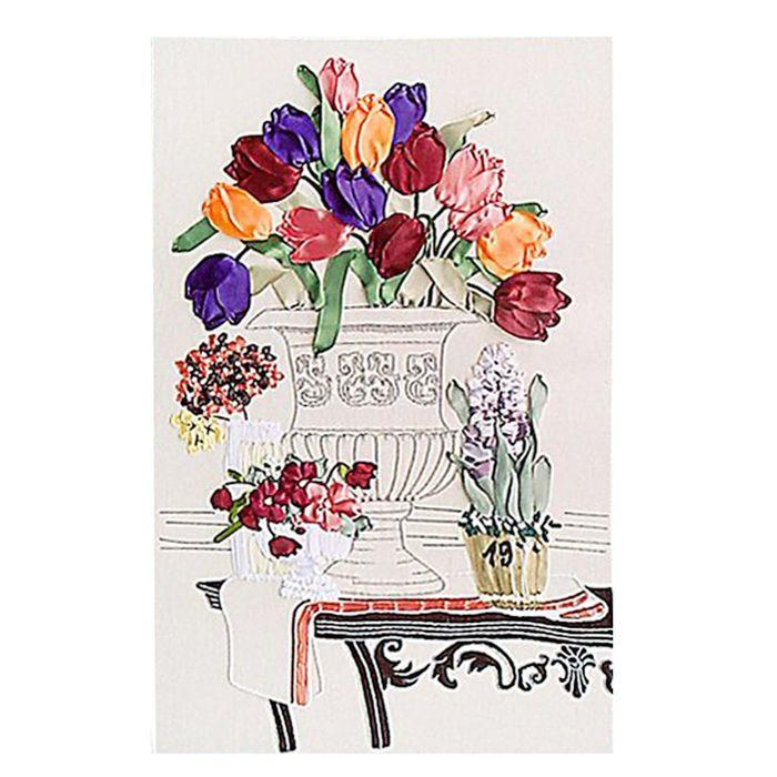 """Набор для вышивания лентами """"Тюльпаны в вазе"""" размер основы 65*45 см"""