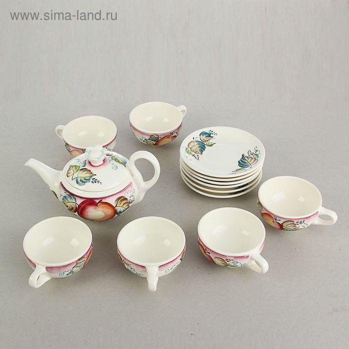 """Набор чайный """"Настроение"""" 1 сорт, 13 предметов: чайник 500 мл, диаметр чашки - 10 см, диаметр блюдца - 15 см"""