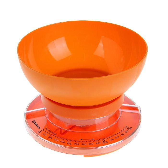 Весы кухонные Sakura SA-6008A, до 3 кг, механические, оранжевые