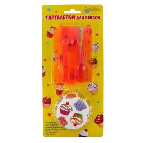 Украшение для кексов «Пирожное», на блистере, набор: 12 мини-ложек, 24 формочки