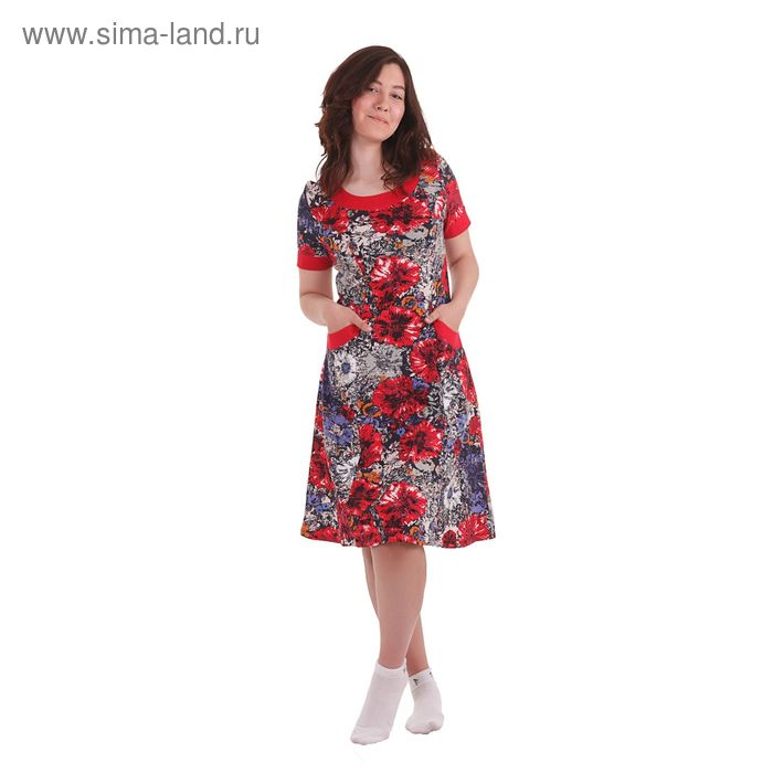 Платье женское Б176 цветочный принт, рисунок микс, размер 50 (XL)