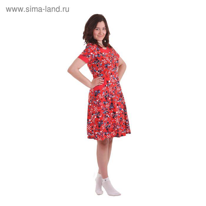Платье женское Б176 абстракция, рисунок микс, размер 48 (L)