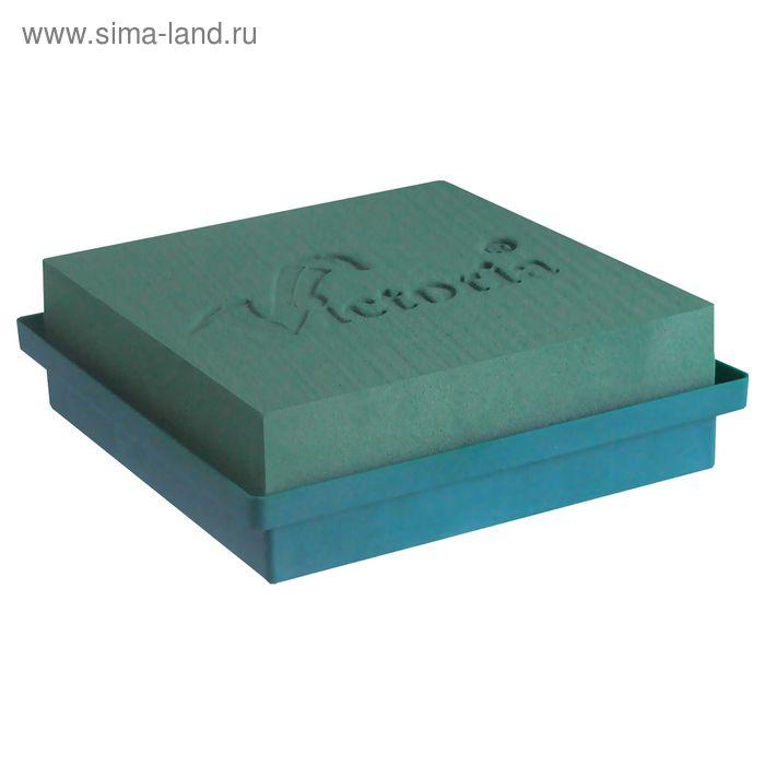 """Губка флористическая """"Виктория"""", квадрат с контейнером средний, 23 х 33 х 7 см"""