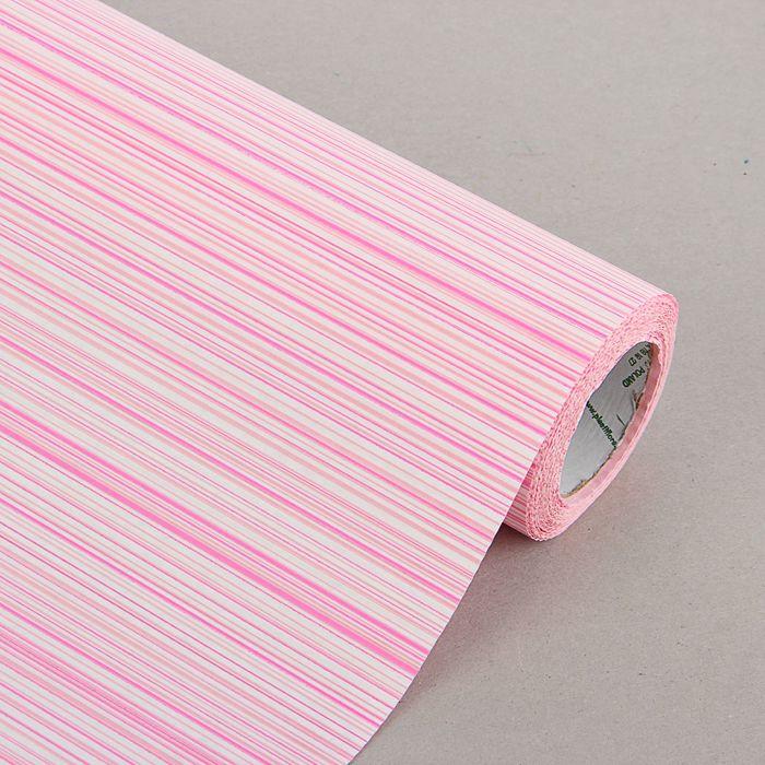 "Бумага упаковочная крафт ""Полоски люкс"", бело-розовая, 0.5 х 10 м"