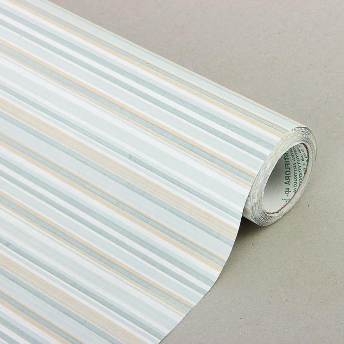 "Бумага упаковочная крафт ""Полоски люкс"", бежево-серый, 0.5 х 10 м"