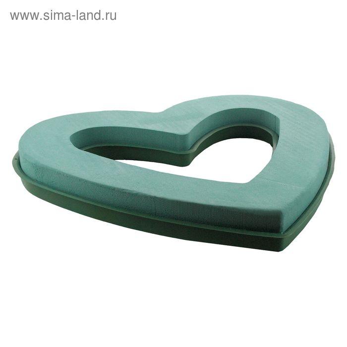 """Губка флористическая """"Виктория"""" сердце на пластиковой подставке, 37 х 32 х 5 см"""