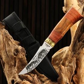 """Нож охотничий """"Схватка"""", в чехле, 23 см, лезвие с узором, рукоять деревянная в Донецке"""
